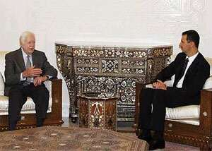 Jimmy Carter with Syrian dictator Bashar Assad