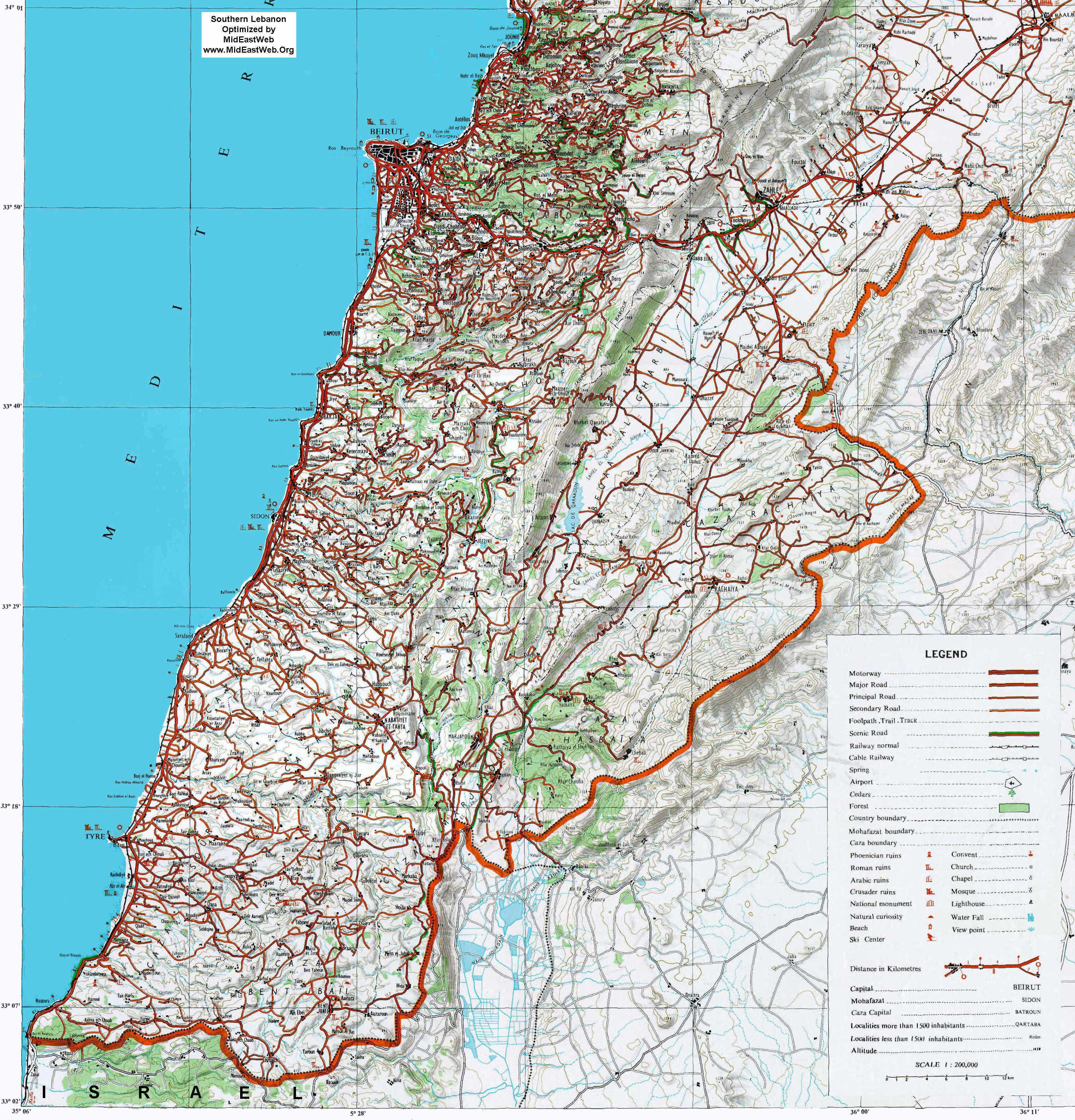 South Lebanon - Detailed optimized high resolution map