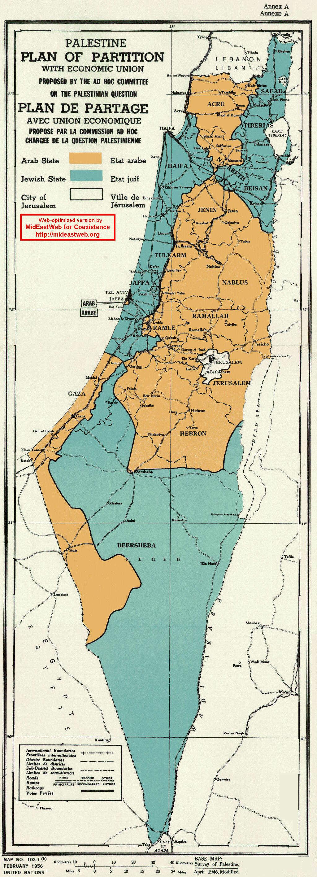 detail map un palestine partition plan  nov  - un palestine partition map