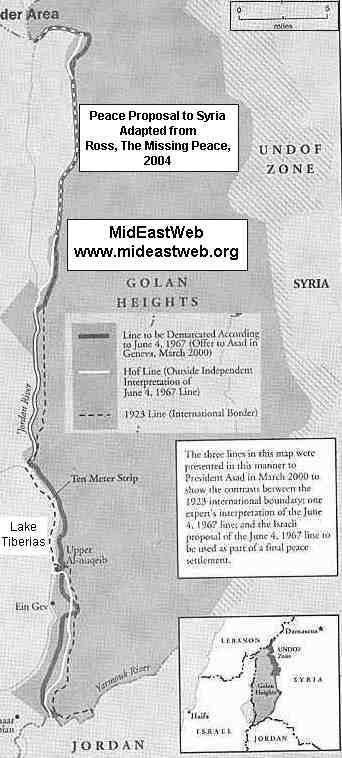 Map of Israeli Golan Heights Peace Offer to Syria - March 2000