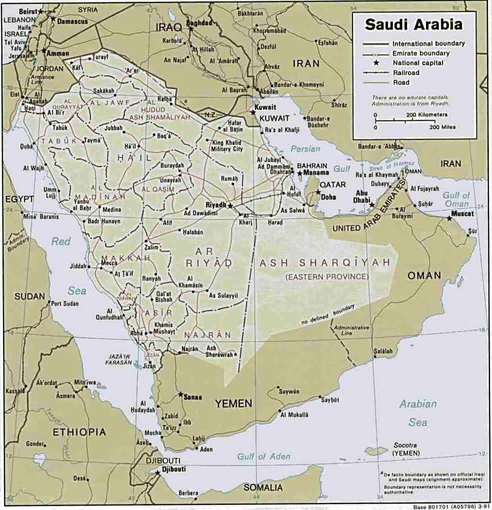 Map of Saudi Arabia and Arabian Peninsula